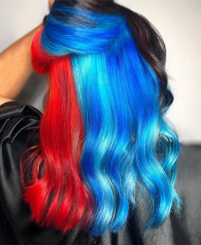 Fire & Ice 🔥🧊   Products:  Lighten Prelightened with Light Scale + 20V  Color Lisaplex Filter Color: Metallic Chocolate Mauve Lisaplex Xtreme Color: Bossy Red/Naughty Orange and Mystic Blue/Pure Diamond   Finish Styled with Ultimate Straight Fluid & Lisynet Extra Strong Hold Hairspray  Hair by @kims_hairdesign_