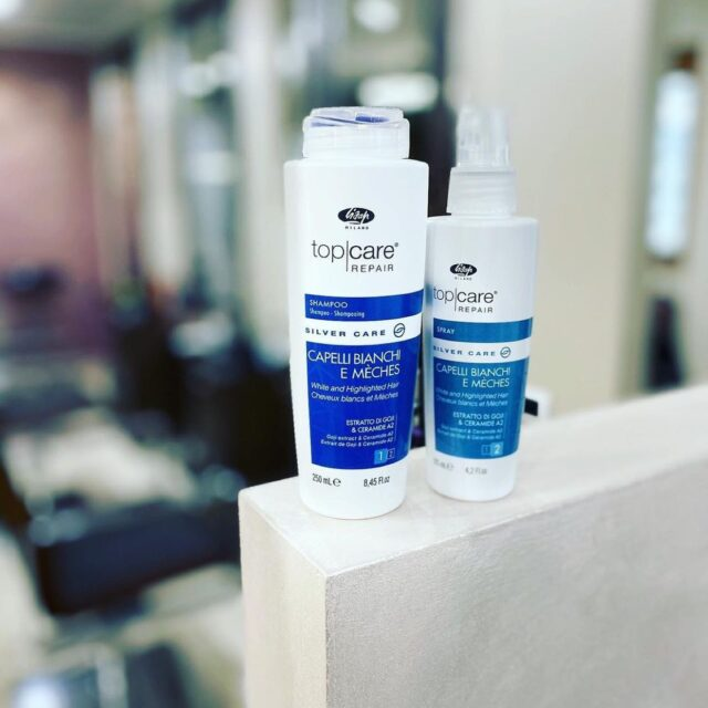 TOP CARE REPAIR SILVER CARE 🤍💙  Silver Care Shampoo: Paraben-free formula, enriched with Goji extract, Ceramide A2 and Silver Care Complex, is the simple and effective way to eliminate the yellowish tones from grey and white hair and tone down excessive yellow and copper shades from light ot highlighted hair. It can also rescue copper or red highlights masked by yellowness.  Sliver Care Spray: Paraben-free formula, enriched with Goji extract, Ceramide A2 and Silver Care Complex, eliminates yellow tones from grey and white hair and tones down excessive yellow and copper shades from light blonde and highlightened hair.  📷 : @igemelli2.0