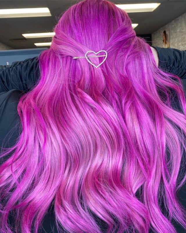 Mad for Magenta 💜💖  Color: Lisaplex Xtreme Color Moody Purple Lisaplex Xtreme Color Mad Pink  Hair by Lisap USA Brand Ambassador @vividsandbalayage 💕